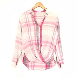 Maurices Plaid Long Sleeve Twist Front Buttons EUC